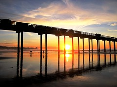 Sunset at the Pier, La Jolla , California Serenity (moonjazz) Tags: california travel sunset vacation sky sun colour reflection beach nature landscape pier peace sandiego walk under peaceful visit lajolla calm health meditation daytrip scripps discover scerenity artofimages bestcapturesaoi elitegalleryaoi