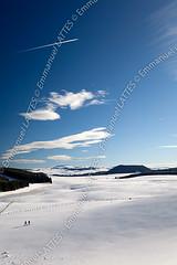 Paysage d'Auvergne recouvert de neige en hiver (Puy-de-Dme (63), France). (Emmanuel LATTES) Tags: winter two people cloud white mountain snow france tree nature field clouds forest montagne walk