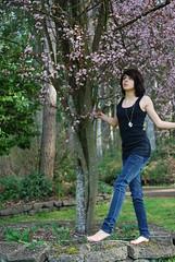 Cherry Blossoms. (Laundry Talks.) Tags: blue black tree girl neck cherry bush toes skin blossom lace peach jeans human tanktop cherryblossom nailpolish kennedie skinnyjeans