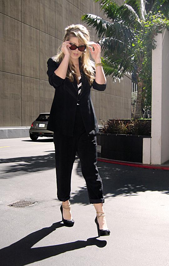 black suit striped shirt ankle chains -sh-pp