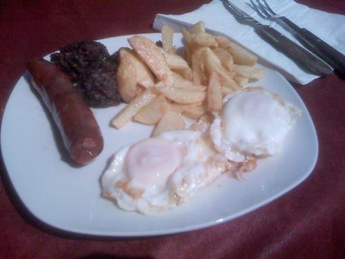 Chorizo, Morcilla, Potatoes, and Fried Eggs