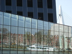 Ferry reflective (VanWierenPhoto) Tags: reflection netherlands glass ferry rotterdam maas kopvanzuid erasmusbrug maastoren vanwierenphoto