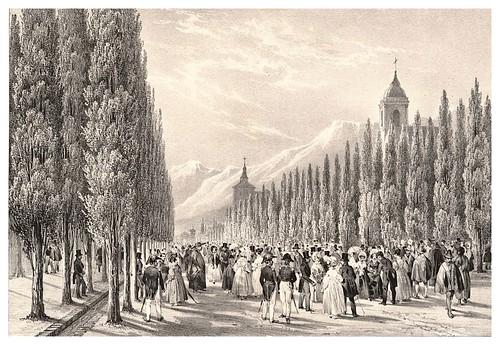 005-La Cañada paseo publico de Santiago de Chile-Journal de la navigation autour du globe… 1837-Barón de Bouganville-fuente BOTANICUS