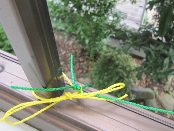 軒から吊るす栽培ネットを軒から吊るす