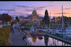 Victoria, British Columbia Sunset (Brandon Godfrey) Tags: world pictures old city autumn trees sunset sky urban canada reflection building fall water colors clouds docks buildings landscape boats photography lights harbor amazing twilight scenery colorful long exposure colours bc purple photos pics earth britishcolumbia sony awesome capital surreal parliament scene victoria tourist canadian inner creativecommons western pacificnorthwest northamerica multiple colourful yachts alpha dslr westcoast legislature 2009 hdr attraction attractions causeway innerharbour exposures a300 photomatix tonemapped tonemapping dslra300 sonya300 rockindavic