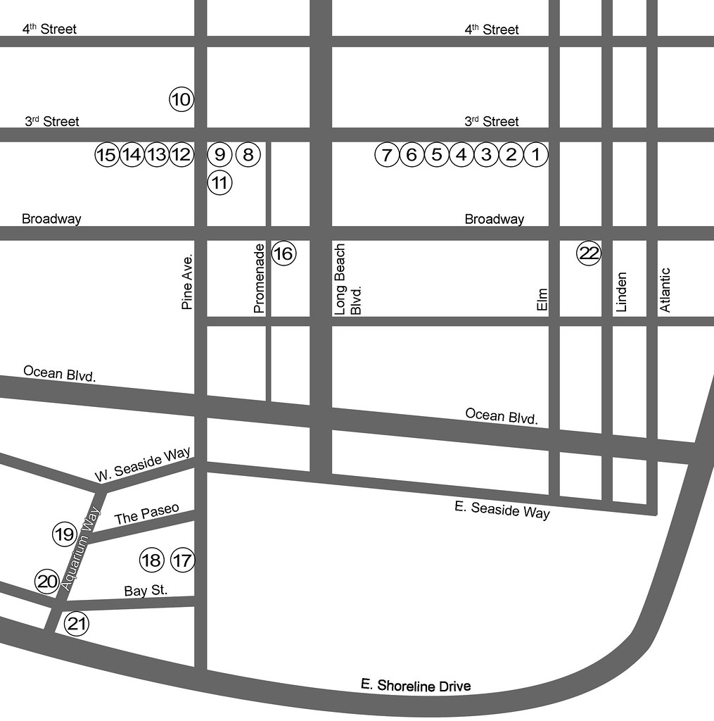 Map of Phantom Art  Galleries in Downtown Long Beach Dial (562) 242-2928 to listen to the Artists and Curators talk about their exhibits.