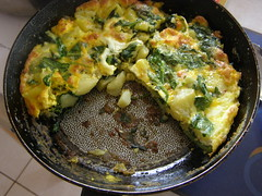spinach potato omelette