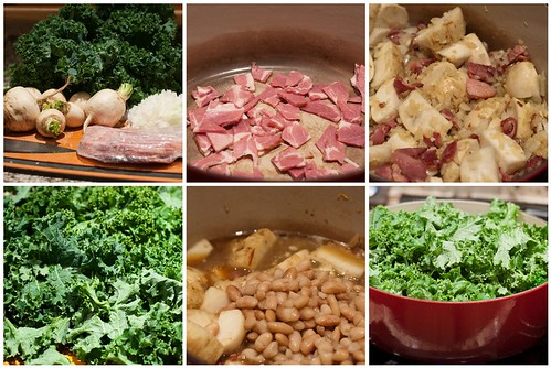 Making Braised Kale with White Beans and Turnips