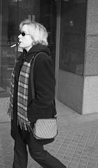 aqua tip (teh hack) Tags: street bridge people bw woman mike person photography photo downtown edmonton cigarette candid nb smoking blonde holder