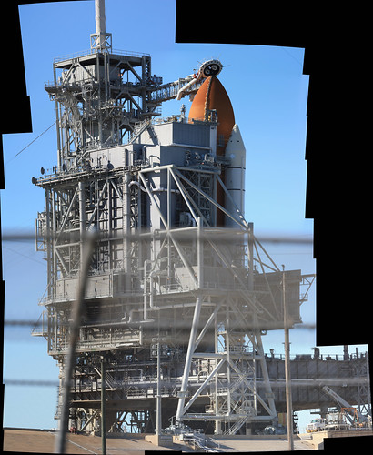 134 megapixel stitched panoramic shot of STS-129 Atlantis sitting on pad 39A a day before launch
