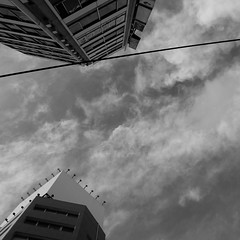 (Froschmann : ) Tags: sky bw cloud building monochrome japan square tokyo ikebukuro     electricwire     lx3
