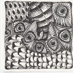 traded-Birds of a Feather (molossus, who says Life Imitates Doodles) Tags: tile zentangle zendoodle zentangleinspiredart
