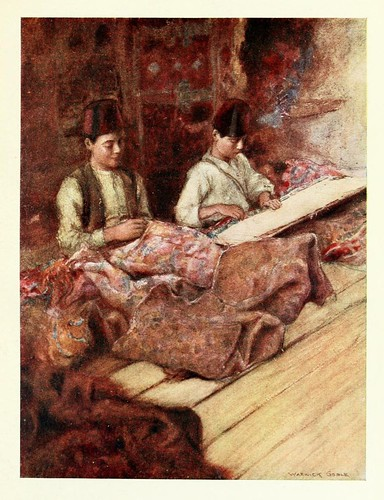 007-Reparadores de alfombras- Constantinople painted by Warwick Goble (1906)