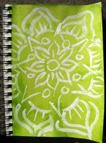 My first Batik Mandala. Bombay White India Ink & Diamine Light Green Ink