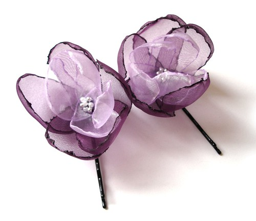ROMANTIC AMETHYST LILAC PURPLE ROSE BLOSSOM FLOWER HAIR PINS