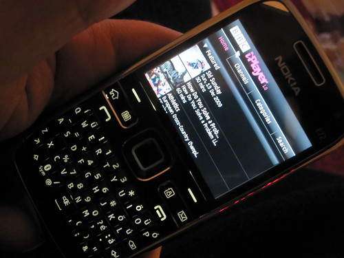 Nokia e72 running BBC iPlayer