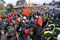 Police and protesters outside the Bella Centre, December 16, 2009 (Photo by Jack Lenk)