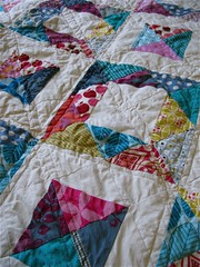 { geometric squares quilt } ({ philistine made }) Tags: quilting quilts halfsquaretriangles winter2009 geometricsquaresquilt