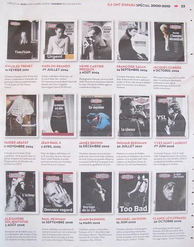 Libération, Jeudi 31 décembre 2009, page 23, Ils ont disparu, spécial 2000-2010,