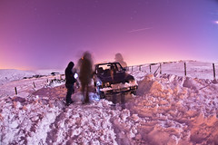 Stuck again - Day 140, Year 2 (purplemattfish) Tags: road snow car fence stuck 4x4 hill smoking fisheye covered dig drift spade stood project365 zenitar16mmf28