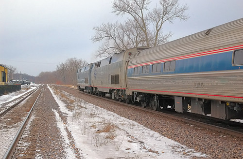 Amtrak train in Washington, Missouri, USA