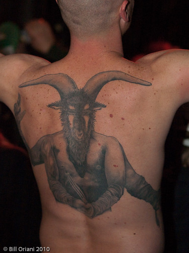 Huge Demonic Tattoo. Seen in audience at Emo's -. Photo by Bill Oriani