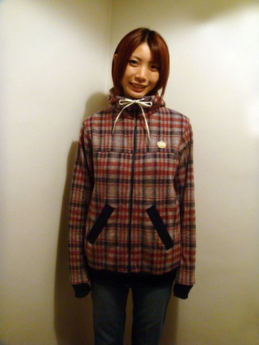 Naoko - Red x Navy check hoody