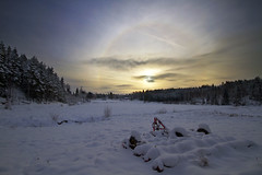 The Blessing of the Land (diesmali) Tags: winter sun snow field nimbus sweden arc halo parhelion sverige hdr harrow stergtland icebow gloriole sigma1020mmf456exdchsm circularhalo 22halo skrblacka nyboda canoneos7d