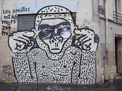 les oreilles ont des murs (lepublicnme) Tags: streetart paris france graffiti december 2009 zooproject
