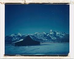 ID-UV moulton barn (polaroidmandy) Tags: blue winter snow mountains cold barn polaroid nationalpark jackson wyoming peaks tetons expired grandteton jacksonhole mormonrow iduv supercolorpack moultonbarn
