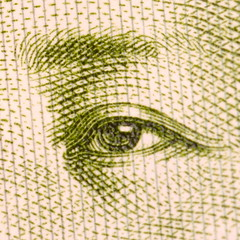 Mao, on paper (kevin dooley) Tags: china money macro eye closeup canon paper print image drawing watch chinese sigma cash mao printed chairmanmao papermoney 105mm watchful zedong  chinesemoney 40d