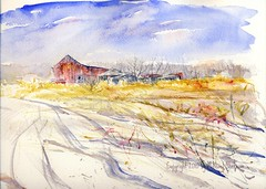 Winter Weed Crop (Artist Naturalist-Mike Sherman) Tags: winter snow cold art rural watercolor painting landscape michigan aquarelle fineart farmland february pleinair midmichigan paintingfrommycar