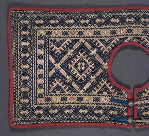 //Baby Collar,// Dong people. China, Yunnan province, 20th century 37 x 18 cm. From the collection of Tan Tim Qing, Kunming. Photograph by D Dunlop.