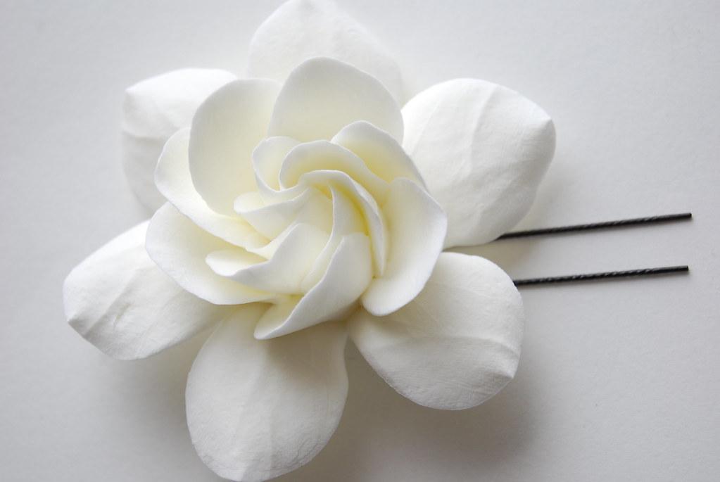Gardenia Clay Flower Hair Clip