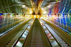 Colorfall (Sameli) Tags: city light colors suomi finland subway lights helsinki colorful neon bright metro empty nopeople escalators eyecandy kaisaniemi 23skidoo