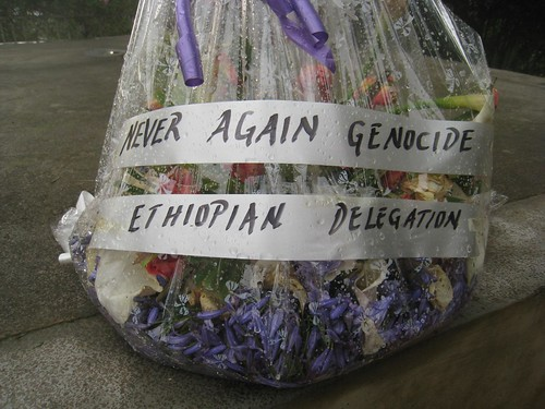 Flowers left on a mass grave at the Kigali Genocide Memorial Centre