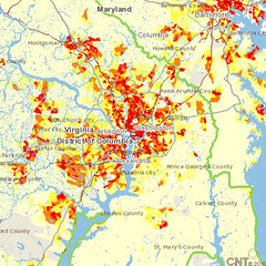 CO2 per acre, metro Washington, DC (by: CNT)