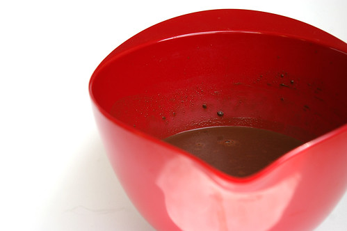 Melted chocolate and cocoa