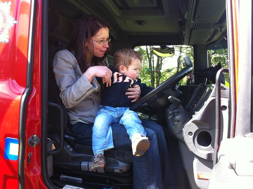 Mummy and Owen on a fire engine