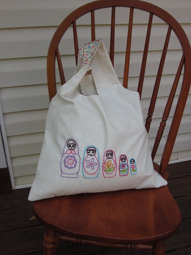 Embroidered Matryoshka Russian Dolls Carry-all Tote (front)