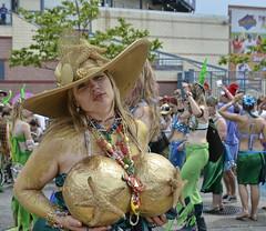 Golden (Bob Jagendorf) Tags: nyc people newyork brooklyn parade event mermaid hdr lucis jagendorf coneyislandpeople costumebrooklynjagendorfnycpeople