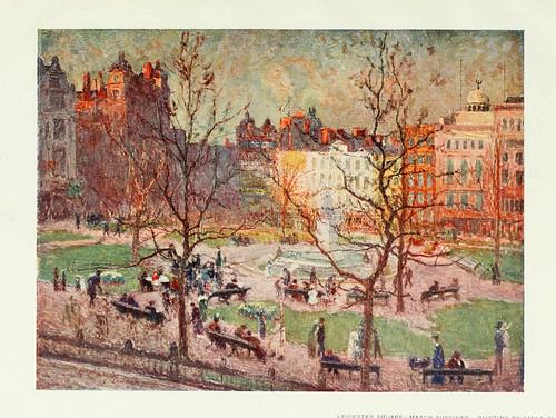001-Pictures of London 1919- Leicester Square un dia de Marzo soleado pintado por Emile Claus