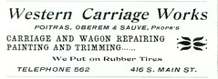 Western Carriage Works, Butte, Montana (1901) (Butte-Silver Bow Public Library) Tags: bw ads wagon montana butte carriage repair advertisements pamphlet silverbow poitras 1901 sauve rubbertires butteamerica 19001909 buttefiredepartment buttesilverbowpubliclibrary oberem buttepubliclibrary bsblibrary buttedigitalimageproject petersanger wwwbuttepubliclibraryinfo peoplespubco smainbuttemt westerncarriageworks