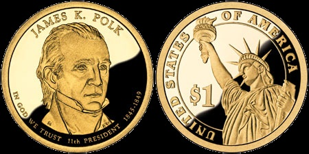 1 prezidentský dolár USA 2009, James K. Polk
