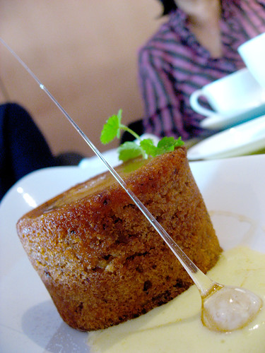 Pear-hazelnut ginger cake in a honey-wine sabayon sauce.