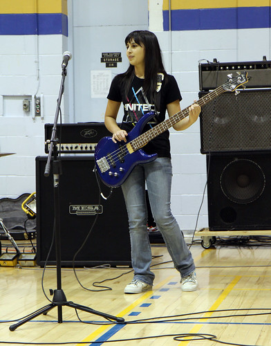 Jessie Penner plays the bass in Lucid at the DHS Spread the Net talent show.
