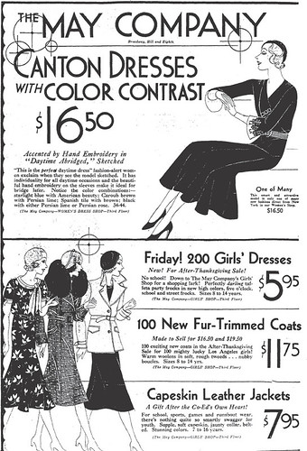 May Company ad - Los Angeles Times - November 26, 1931 --$16.50 = $234.67 in ...