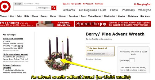 An advent wreath without Jesus! (no Christ candle)