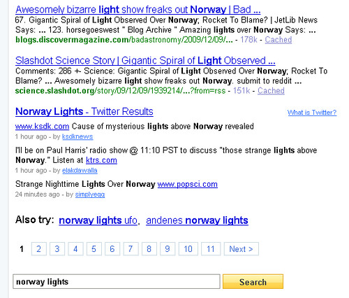 "Twitter results for ""Norway lights"" in Yahoo! Search"