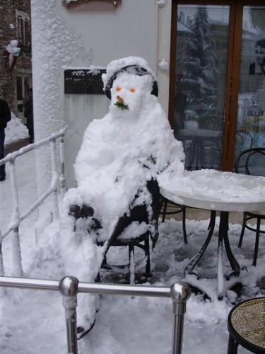 James Joyce turned into snowman - Pula